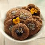 Ciasteczka czekoladowe z fiołkami i bratkami