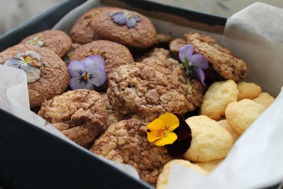 Ciasteczka owsiane z fiołkami i kawałkami czekolady