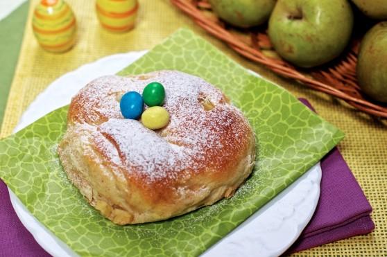 Pieczone oponki drożdżowe z jabłkami (2)