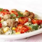 Pieczone pomidorki i klopsiki na ryżu jaśminowym