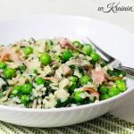 Ryż w sosie serowo-pieczarkowym z szynką i groszkiem