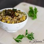 Ryż z grzybami leśnymi i kukurydzą